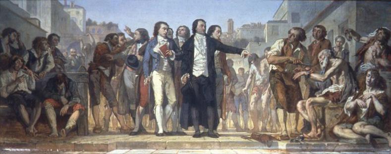 Pinel fait enlever les fers aux aliénés de Bicêtre, de Charles-Louis Mullet